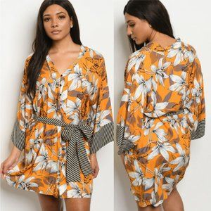 Mustard Floral Tunic Dress